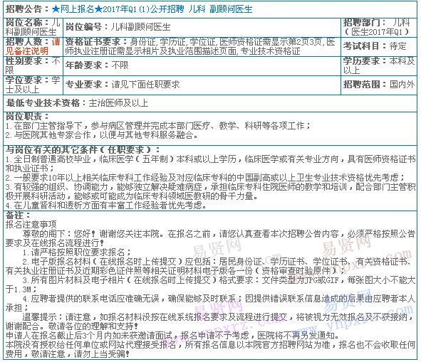 2017年香港大学深圳医院招聘儿科副顾问医生职位表
