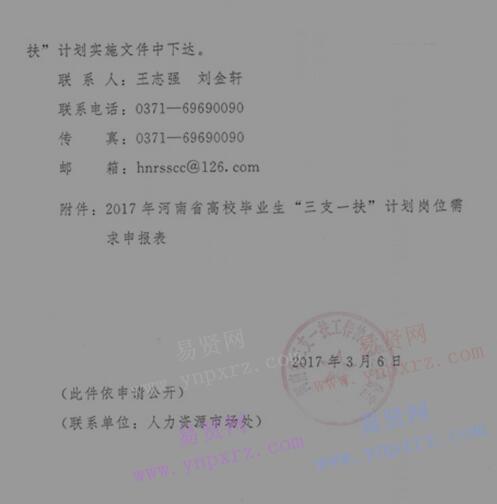 三门峡市转发河南省2017年高校毕业生三支一扶计划招募名额和岗位需求通知